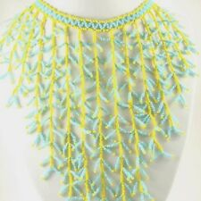 TURQUOISE YELLOW SEED BEADED BIB HANDMADE NECKLACE
