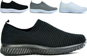 Mens New Casual Knitted Trainer Slip On Lightweight Walking Shoes UK Size 4-12