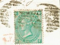 GB 1865 QV 1 Sh dark yellow green pl.4 (MF) on superb piece (S.G. 101 GBP 275.-)