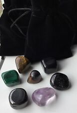7pcs Crystal Protection Set With Black Pouch Gemstones Psychic Evil Eye Amulets
