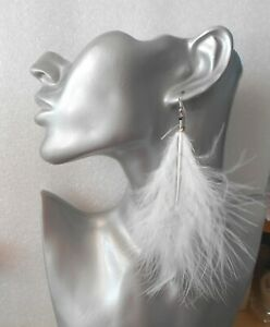 """Sexy Fluffy Marabou Feather Earrings 4-6"""" Long - Pierced or Clip-on - 18 Colours"""