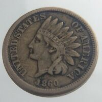 1860 United States America Indian Head One 1 Cent KM# 90 Circulated Coin V048