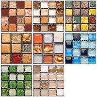 19pcs 3D Self Adhesive Square Tile Floor Wall Sticker Mosaic Decal Home Decor AU