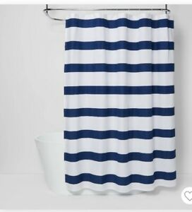 NEW Room Essentials Navy Blue & White Rugby Stripe Fabric Shower Curtain 72 x 72