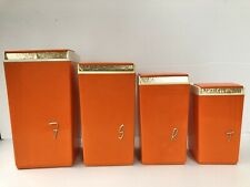 Vintage 1950s NALLY WARE Orange, White & Gold Kitchen Canisters