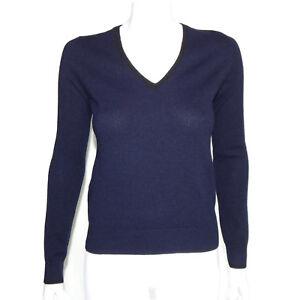 UNIQLO x FESSANGE 100% Cashmere Blue V-Neck Sweater Women's size XS - 4927