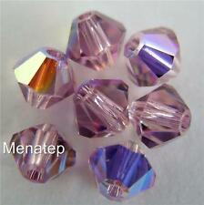 8 4mm Swarovski 5301/5329 Bicones -- Light Amethyst AB