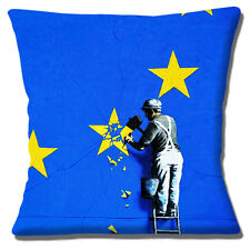 """Banksy Art Cushion Cover - Removal of EU Star European Union Brexit Dover - 16"""""""