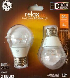 2 GE HD Light relax 40-Watt Clear Dimmable A15 LED Light Bulbs w/Standard Base