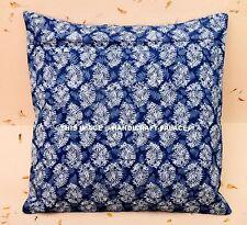 "Indian Cushion Cover Hand Block Print Home Decor Throw Pillow Cotton Blue 16"""