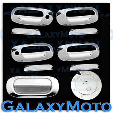 97-04 Dodge Dakota Triple Chrome 4 Door Handle W/ PSG Keyhole+Tailgate+Gas cover