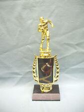 Football trophy full color insert riser field goal black finish wood base