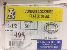"""QTY 50 - ARLINGTON INDUSTRIES 405 NPT Locknut, Standard 1 1/2"""" Steel"""