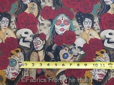 Nocturna Sugar Skull Sexy Girls Roses Dark Tint BY YARDS Alexander Henry Fabric