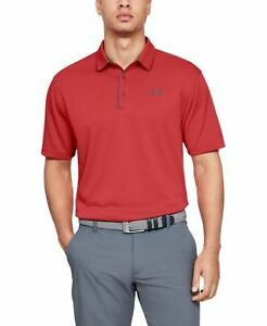 UNDER ARMOUR Mens Red Logo Graphic Classic Fit Polo S