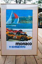 1970 MONACO GP F1 ORIGINAL POSTER  FRAMED - SIR JACKIE STEWART SIGNATURE RARE
