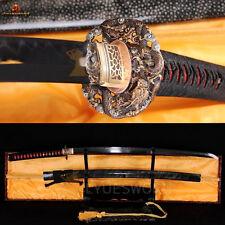 JAPANESE FULL TANG KATANA SWORD DAMASCUS BLADE CLAY TEMPERED BATTLE READY SHARP