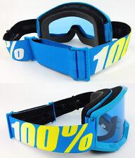Un 100% Por Ciento Strata MX Motocross MX Bicicleta de Montaña Bici Gafas Azul Con Lente Tinte Azul