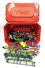 K'Nex Building Toys Lot - Green Purple Roller Coaster Tracks in Red Storage Box