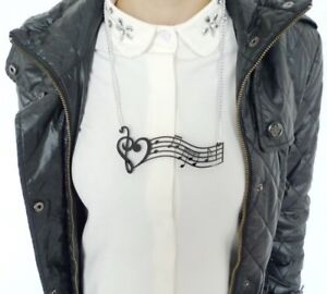 """STATEMENT NECKLACE Acrylic Black & Silver Music Heart Notes Treble Clef 4.5 x 2"""""""