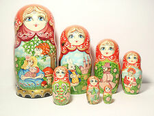 Alice in Wonderland Nesting Doll 7pcs , Matryoshka Big Size 9 in.