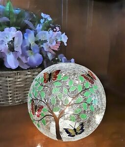 """Lighted Crackled Glass Ball Decorative Butterfly 6"""" Dia."""