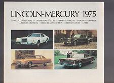 Ford Lincoln Mercury 1975 Car Brochure Mark IV Marquis Capri Cougar Montego