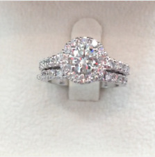 1.50 CT Womens Engagement Bridal Ring Set Halo Style Round Cut 14K White Gold