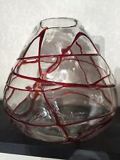 Vtg FULVIO  BIANCONI 1915-96 MURANO Ruby  Threaded VASE Spider Design Venini