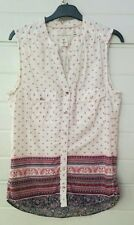 Camicia sbracciata H&M tela cotone bianca blu fucsia paisley fiori IT 38 EUR 34