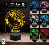Lampada a led 7 colori SEGNO ZODIACALE  ARIETE Idea regalo personalizzata da tav