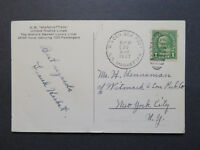 US 1937 SS Manhattan Postcard / Paquebot Cancel - Z7948