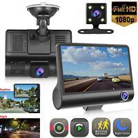 "4"" 1080P HD 170° 3 Lens Car DVR Dash Cam G-sensor Recorder + Rearview Camera US"
