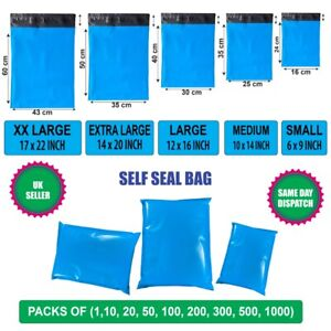 Blue Coloured Mailing Bags Strong Polythene Postage Plastic Mail Post Self Seal