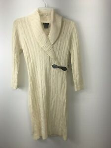 NWT New Directions Women's Ivory Long Sleeved Sweater Dress Size Small N07-16