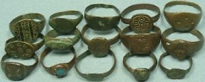 LOT OF 15 ANCIENT BRONZE RINGS