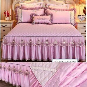 Princess Quilted Bed Skirt Lace Ruffle Bedcover Cotton Bedspread Sheet Bedding