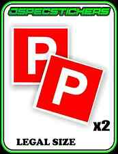 RED P PLATE STICKER NON MAGNETIC LEGAL SIZE LICENCE REGO x2 CAR BIKE STICK ON