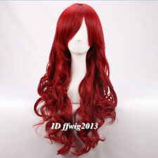 Long wavy Curly fluffy dark red Poison Ivy Cosplay Wigs +a wig cap