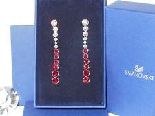 """GENUINE Swan Signed SWAROVSKI """"Hot"""" Siam Crystal Earrings - #1106407"""