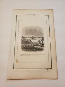 Indian Lodges and Lake of the Woods C. 1852 Engraving
