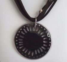 SILPADA Sterling Silver ROUND PEN SHELL Brown Suede Multi Stranded Necklace, A++