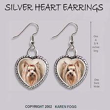 Yorkshire Terrier Dog Yorkie - Heart Earrings Ornate Tibetan Silver