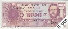 TWN - PARAGUAY 221 - 1000 G 2002 UNC 50th Ann Banco Central Paraguay DEALERS x 5