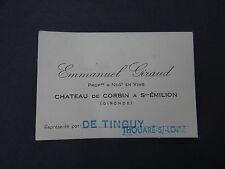 Ancienne carte de visite VIN BORDEAUX CHATEAU CORBIN SAINT EMILION Giraud