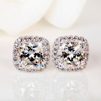 Gorgeous Princess White Sapphire Square Stud Earrings 925 Silver Wedding Jewelry