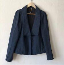 Free People Womens Wool Jacket Size 10 Blue V Neck