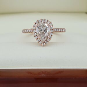 BIG 1.25 Carat Pear Cut Diamond Engagement Ring in Solid Rose Gold. $19K Value!