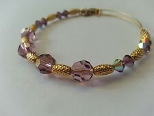 Alex and Ani Purple Swarovski Crystal & Gold Beaded Bracelet RETIRED RARE BOX