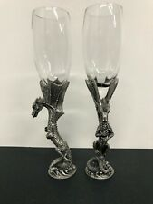 Pair Myths And Legends Veronese Pewter Dragon Wine Champagne Flute Glass Goblet